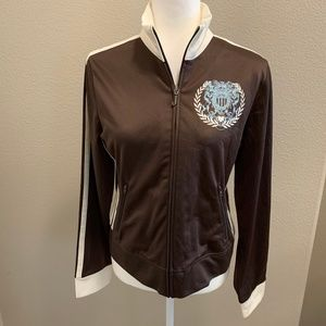 NWT! Juicy Couture Brown Track Jacket White Stripe